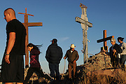 pvc042211e/4-22-11/asec.  Pilgrims reach the peak of Tome Hill on Good Friday, photographed Friday April 22, 2011.  (Pat Vasquez-Cunningham/Journal)