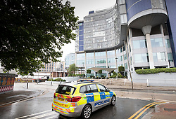 © Licensed to London News Pictures. 14/07/2019. London, UK. A police car sits outside the Rafayel Hotel in Battersea, south west London after a car was driven into a group of people leaving the hotel on Lombard Road. Three men have been arrested on suspicion of murder after the incident which took place at 11. 15pm on Saturday night. One man has a broken leg and six other people also sustained minor injuries. Photo credit: Peter Macdiarmid/LNP
