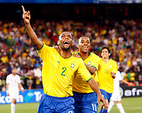 Maicon of Brazil and Internazionale celebrates with Robinho Brazil and Man City <br /> FIFA Confederations Cup South Africa 2009 <br /> United States of America   v  Brazil Group A at Loftus Versfeld  Stadium  Pretoria South Africa<br /> 18/06/2009 Credit Colorsport / Kieran Galvin <br /> <br /> <br /> <br /> <br /> <br /> <br /> <br /> <br /> <br />  <br /> <br /> <br /> <br /> <br /> <br /> <br /> <br /> <br /> 17\