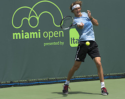 March 21, 2018 - Miami, FL, United States - Miami, FL - March, 21: Alexander Zverev (GER) practicing at the 2017 Miami Open held at the Tennis Center at Crandon Park.   Credit: Andrew Patron/Zuma Wire (Credit Image: © Andrew Patron via ZUMA Wire)