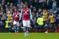Jordan Ayew of Aston Villa looks dejected after Olivier Giroud of Arsenal  scores a goal to make it 0-1 - Mandatory byline: Rogan Thomson/JMP - 13/12/2015 - FOOTBALL - Villa Park Stadium - Birmingham, England - Aston Villa v Arsenal - Barclays Premier League.