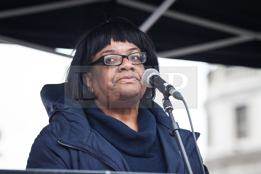 © Licensed to London News Pictures. 19/03/2016. London, UK. Labour Party Shadow Cabinet Minister Diane Abbott speaks to demonstrators about the plight of refugees across Europe. Thousands march through central London on UN anti-racism day to demand that the British government accept a greater share of refugees seeking asylum in Europe. Photo credit : Rob Pinney/LNP