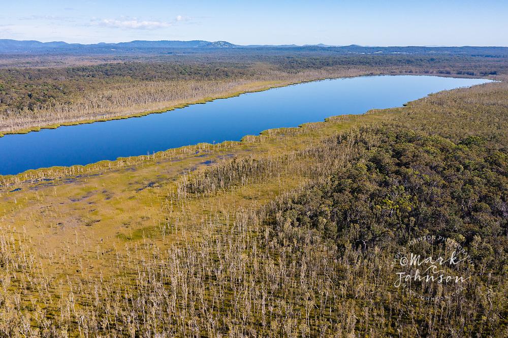 Aerial view of Lake Como, Upper Noosa River, Cooloola Recreation Area, Great Sandy National Park, Sunshine Coast, Queensland, Australia