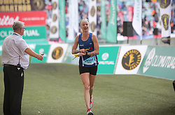 10062018 (Durban) A position 7th Devon Yanko run towards the finnish line during the 2018 Comrades marathon in Durban.<br /> Picture: Motshwari Mofokeng/ANA