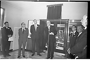Official Opening of I.C.T.House..1963..01.10.1963..10.01.1963..1st October 1963..Dr James Ryan TD, Minister for Finance,officially opened I.C.T. House ,Adelaide Road, Dublin, for international Computers and Tabulators Ltd. The company had staff working in several sites around the city and the new premises will bring all of them together under the one roof... Image shows the assembled management and guests at the official opening of ICT House.