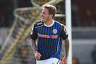 George Donnelly of Rochdale celebrates scoring his side's first goal. Skybet football league two match, Newport county v Rochdale at Rodney Parade in Newport, South Wales on Saturday 3rd May 2014.<br /> pic by Mark Hawkins, Andrew Orchard sports photography.