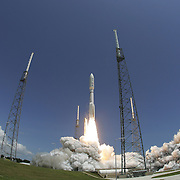 The Atlas V rocket launches the Juno spacecraft payload from launch complex 41 at the Kennedy Space Center on Friday, Aug 5, 2011, in Cape Canaveral, Fla.. The Juno robotic explorer will probe the planet Jupiter.  (AP Photo/Alex Menendez)