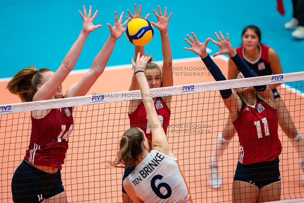 Emily Londot of USA, Reagan Hope of USA, Jordan Middleton of USA, Marije ten Brinke of Netherlands in action during United States - Netherlands, FIVB U20 Women's World Championship on July 15, 2021 in Rotterdam