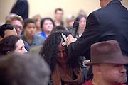 Bob Larson and his teenage daughter in San Jose performing an exorcism seminar.