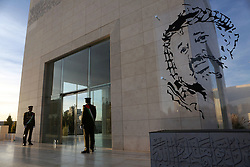 November 9, 2016 - Ramallah, West Bank, Palestinian Territory - A Palestinian honor guard stand guard at the tomb of the late Palestinian leader Yasser Arafat during the inauguration ceremony of late Palestinian leader Yasser Arafat's Museum in the West Bank city of Ramallah on November 9, 2016. The Yasser Arafat Museum opened in Ramallah, shedding light on the long-time Palestinian leader's life and offering a glimpse of history -- along with a number of his trademark black-and-white keffiyehs  (Credit Image: © Shadi Hatem/APA Images via ZUMA Wire)