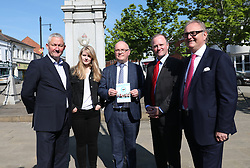 (left to right) Yorkshire's European election candidates for the Brexit Party Jake Pugh, Lucy Harris, Andrew Allison, Christopher Barker and John Longworth while on the European Election campaign trail Nigel Farage in Pontefract, West Yorkshire, in the Brexit bus while . Picture dated: Monday May 13, 2019. Photo credit should read: Isabel Infantes / EMPICS Entertainment.