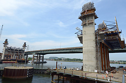 Span between, and East and West Towers, New Pearl Harbor Memorial Bridge under Construction at New Haven Harbor Crossing, Connectictut. CONNDOT Contract B, Project #92-618. When complete the alternately named Quinnipiac River Bridge will be first Extradosed Engineered & Designed Bridge in the United States.