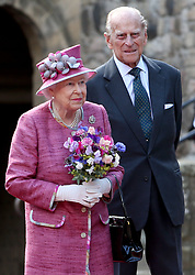 Queen Elizabeth II and the Duke of Edinburgh during a visit to Stirling Castle, as she marked 70 years since being appointed Colonel-in-Chief of the Argyll and Sutherland Highlanders.