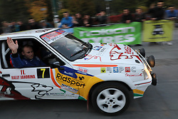 SARAJEVO, Oct. 15, 2017  Racing team drive their car at the start of the 1st stage during the 11th Rally Jahorina 2017, in Sarajevo, Bosnia and Herzegovina (BiH), on Oct. 14, 2017. Fans of speed engaged in the six speed exams on the 11th Rally Jahorina 2017 driven through the capital of BiH Sarajevo and Trebevic and Jahorina Mountains in the vicinity during the weekend. (Credit Image: © Haris Memija/Xinhua via ZUMA Wire)
