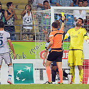 Referee Cuneyt Cakir (M) and Fenerbahce's goalkeeper Volkan Demirel (R) during their Turkish Super League soccer match Caykur Rizespor between Fenerbahce at the Yeni Rize Sehir stadium in Rize Turkey on Sunday, 23 August 2015. Photo by TVPN/TURKPIX