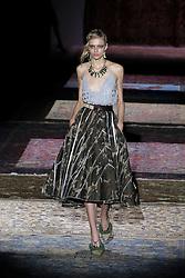 September 17, 2016 - Madrid, Spain - A model  walks Turing Ana Locking Fashion Show at Madrid Fashion Week Spring/Summer 2017/18 at Ifema, on September 17, 2016, in Madrid, Spain  (Credit Image: © Oscar Gonzalez/NurPhoto via ZUMA Press)