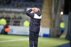 Falkirk's manager Peter Houston not happy with ref Muir after the penalty decision. Falkirk 0 v 1 Hibernian, Scottish Championship game played 20/10/2015 at The Falkirk Stadium.