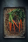 Carrot on baking tray