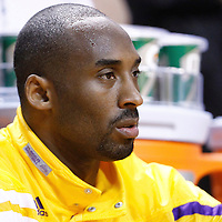 19 January 2012:  Los Angeles Lakers Kobe Bryant is seen prior to the Miami Heat 98-87 victory over the Los Angeles Lakers at the AmericanAirlines Arena, Miami, Florida, USA.