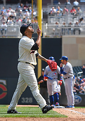 May 2, 2018 - Minneapolis, MN, U.S. - MINNEAPOLIS, MN - MAY 02: Minnesota Twins Pitcher Fernando Romero (77) points to the heavens after being pulled in his first Major League start during a MLB game between the Minnesota Twins and Toronto Blue Jays on May 2, 2018 at Target Field in Minneapolis, MN.The Twins defeated the Blue Jays 4-0.(Photo by Nick Wosika/Icon Sportswire) (Credit Image: © Nick Wosika/Icon SMI via ZUMA Press)