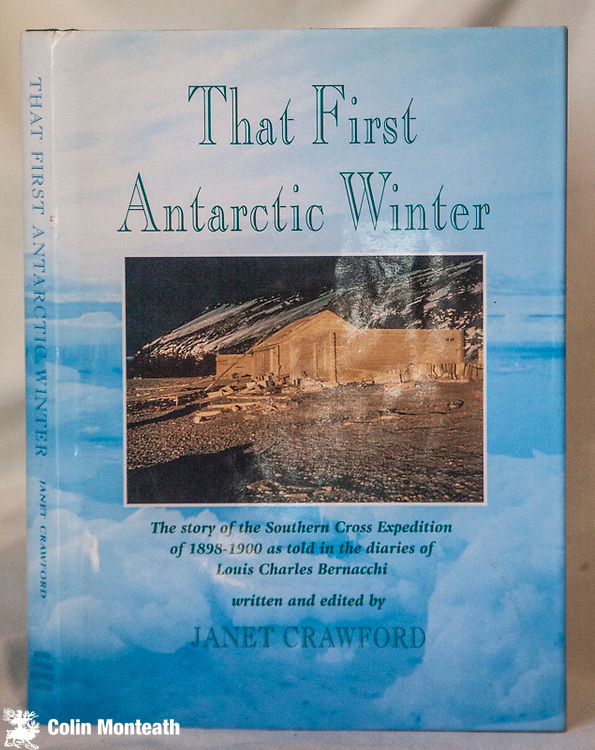THAT FIRST ANTARCTIC WINTER, written and edited by Janet Crawford, South latitude Research Ltd., Christchurch, 1998, 269 page hardback, VG+ as new VG+ jacket, Heine library label fep., B&W and colour plates, two fold-out maps in rear pocket drawn by David Harrowfield who also wrote the appendices & Endnotes, The story of the Southern Cross Expedition of 1898-1900 as told in the dairies of Louis Bernacchi - $NZ70 ( Arnold Heine Collection)