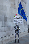 Anit-Brexit activists protest outside the Houses of Parliament on the 11th December 2018 in central London in the United Kingdom. Pro-Brexit and Anti Brexit campaigners congregate on the day of the proposed Brexit vote.