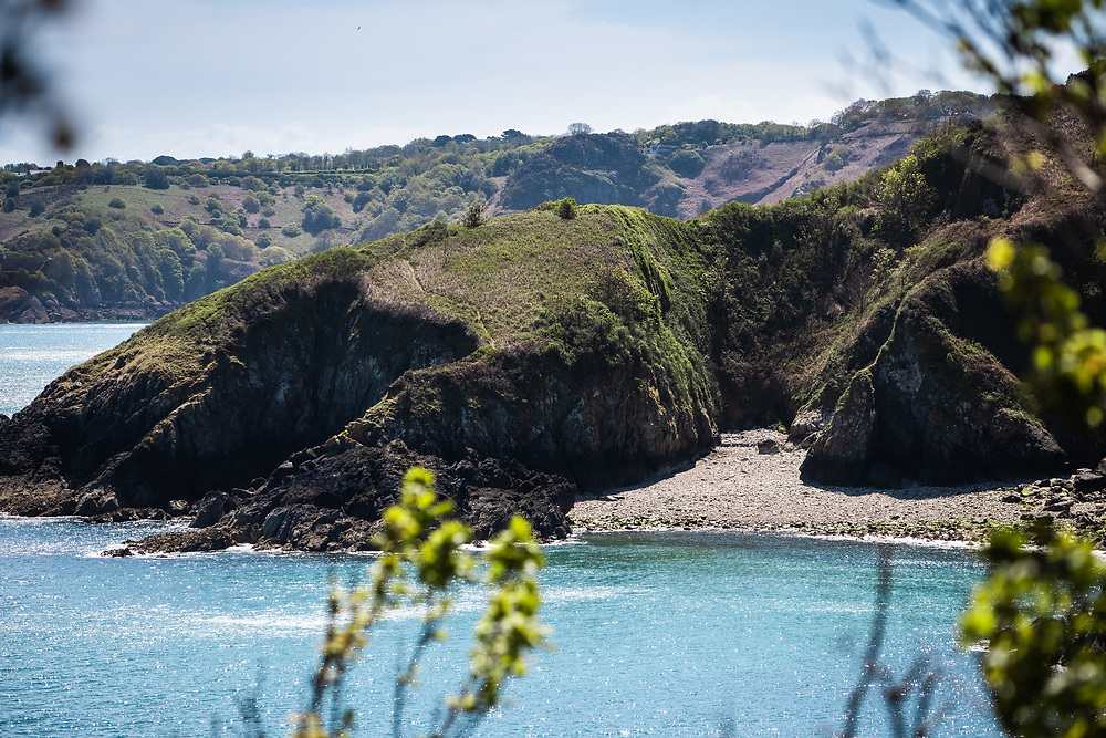 Views across to Vicard Harbour, a secluded hidden bay on the North Coast of Jersey CI near Egypt Woods