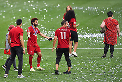 June 2, 2019 - Madrid, Spain - 190601 Mohamed Salah of Liverpool celebrates and has had his hair colored red after the UEFA Champions League final between Tottenham and Liverpool on June 1, 2019 in Madrid..Photo: Petter Arvidson / BILDBYRÃ…N / kod PA / 92302 (Credit Image: © Petter Arvidson/Bildbyran via ZUMA Press)