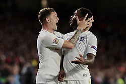 England's Raheem Sterling (R) and Kieran Trippier (L) celebrate goal during UEFA Nations League 2019 match between Spain and England at Benito Villamarin stadium in Sevilla, Spain. October 15, 2018. Photo by A. Perez Meca/Alterphotos/ABACAPRESS.COM