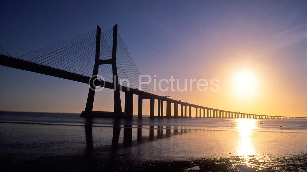 The Vasco da Gama bridge that spans the river Tagus, Lisbon, Portugal