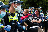 A man is seen yelling at police during the Melbourne Freedom Rally at The Shrine. Premier Daniel Andrews promises 'significant' easing of Stage 4 restrictions this weekend. This comes as only one new case of Coronavirus was unearthed over the past 24 hour and no deaths. (Photo by Dave Hewison/Speed Media)
