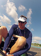 Munich, GERMANY,    General Views, GV's,  of the Boathouse and  Boating Area, GBR M8+   Bow Greg SEARLE,  Boating for their morning training outing. 2012 World Cup III on the Munich Olympic Rowing Course,  Thursday  14/06/2012  [Mandatory Credit Peter Spurrier/ Intersport Images]..