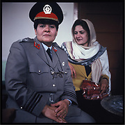 A female police officer on the International Women's Day in Kabul.