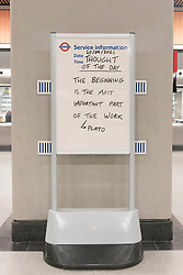 © Licensed to London News. 20/09/2021. London, UK. A TLF member of staff has written the first Thought Of The Day on a notice board on the first day Battersea Power tube station opens.  Along with Nine Elms station, the new Norther Line London underground stations is the first major expansion of the Tube since the Jubilee line in the 1990s. Photo credit: Ray Tang/LNP