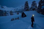 Ian Derrington takes pictures around the Elfin Lakes Hut at dawn in Garibaldi Provincial Park, British Columbia, Canada.