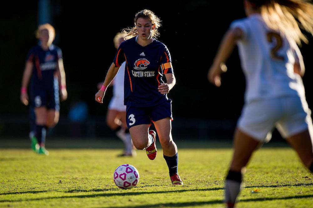Oct 23, 2013; Morrow, GA, USA; Clayton State women's soccer player Emily Walling against Georgia Southwestern at CSU. CSU won 4-0. Photo by Kevin Liles/kevindliles.com