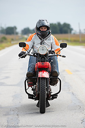 Land-speed record holder Jody Perewitz rode a 1926 Harley-Davidson JD she painted herself (no retro paint job here) on the Motorcycle Cannonball coast to coast vintage run. Stage 5 (229 miles) from Bowling Green, OH to Bourbonnais, IL. Wednesday September 12, 2018. Photography ©2018 Michael Lichter.