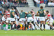 Teams push during the Rugby World Cup Pool B match between South Africa and Japan at the Community Stadium, Brighton and Hove, England on 19 September 2015. Photo by Phil Duncan.
