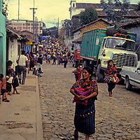 Central America, Guatemala, Chichicastenango. Street scene on market day in Chichicastenango.