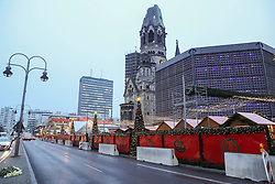 BERLIN, Dec. 22, 2016  Cement barriers are placed by police around the reopened Christmas market at the Breitscheid Square in Berlin, capital of Germany, on Dec. 22, 2016. The Christmas market here attacked on Monday, was reopened on Thursday.  gl) (Credit Image: © Shan Yuqi/Xinhua via ZUMA Wire)