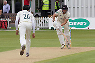 Muhammad Abbas beats James Bracey with an outswinger during the Specsavers County Champ Div 2 match between Leicestershire County Cricket Club and Gloucestershire County Cricket Club at the Fischer County Ground, Grace Road, Leicester, United Kingdom on 18 June 2019.