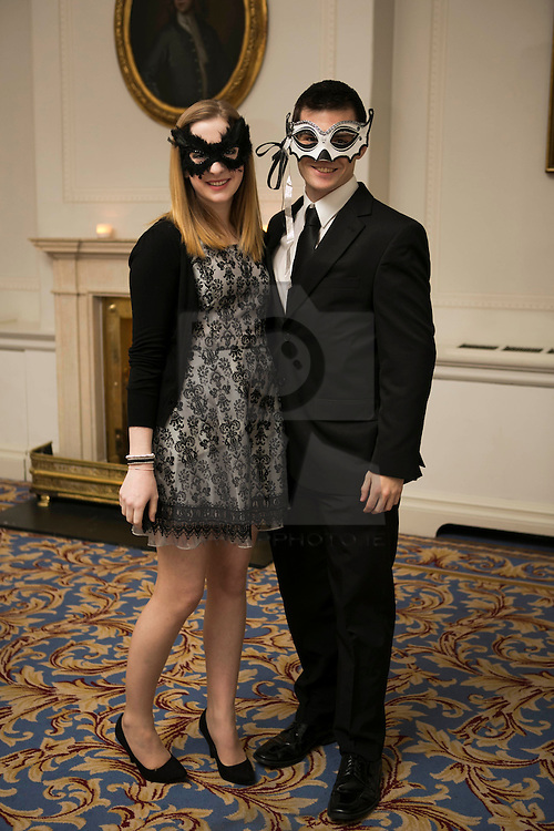 01 November 2013 Caroline Reid and Murchadh Magee pictured at the Irish Cancer Society Masquerade Ball in the Shelbourne Hotel. For more information or to support the Irish Cancer Society please visit www.cancer.ie . Picture Andres Poveda