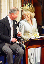 Prince Charles and his new wife Camilla Parker Bowles attend their wedding blessing at St George's Chapel in Windsor.<br />Anwar Hussein/allactiondigital.com