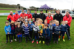 A group photo with Jonny Arr, Ryan Mills and Jamie Shillcock. Worcester Warriors players and community coaches deliver coaching sessions at Stourbridge RFC  - Mandatory by-line: Dougie Allward/JMP - 19/03/2017 - Rugby - Stourbridge RFC - Stourbridge, England - Worcester Warriors Community Rugby