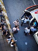 25 SEPTEMBER 2017 - RANGSIT, PATHUM THANI, THAILAND:  Commuters going into Bangkok board a minivan at a Rangsit van stop.      PHOTO BY JACK KURTZ