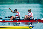 Banyoles, SPAIN, German Women's Double Sculls.. GER W2X   Gold Medalist. stroke Kathrin BORON and Kerstin KOEPPEN. 1992 Olympic Regatta, Lake Banyoles, Barcelona, SPAIN.    [Mandatory Credit: Peter Spurrier: Intersport Images]