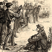 Coal miners or pitmen in the Northumberland and Durham Coalfield, England, enjoying a game of quoits. Engraving from 'The Graphic' (London, 18 February 1871).