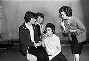 """14/09/1964<br /> 09/14/1964<br /> 14 September 1964<br /> Rehearsal for """"An Triail"""" by Mired Ní Ghrada, which Gael-Linn presented at Damer Hall from the 22/09/1964. It was the only Irish Language contribution to the Dublin Theatre Festival that year. Play was produced by Tomás Mac Anna. Image shows actress' Mauree Duraic; Maire Ní Gráinne; Nuala Ní Dhomhnail and Noirlin Ní Dhuibhir.  ."""