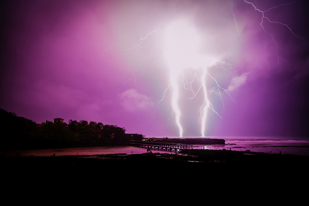 Two massive bolts of lightning strike the Pacific Ocean in Nicaragua during the night.