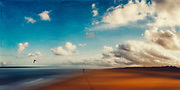 Panorama of a man taking a walk on an empty beach in morning light - abstract photography edited with texture overlays<br /> Redbubble : https://www.redbubble.com/shop/ap/81396520